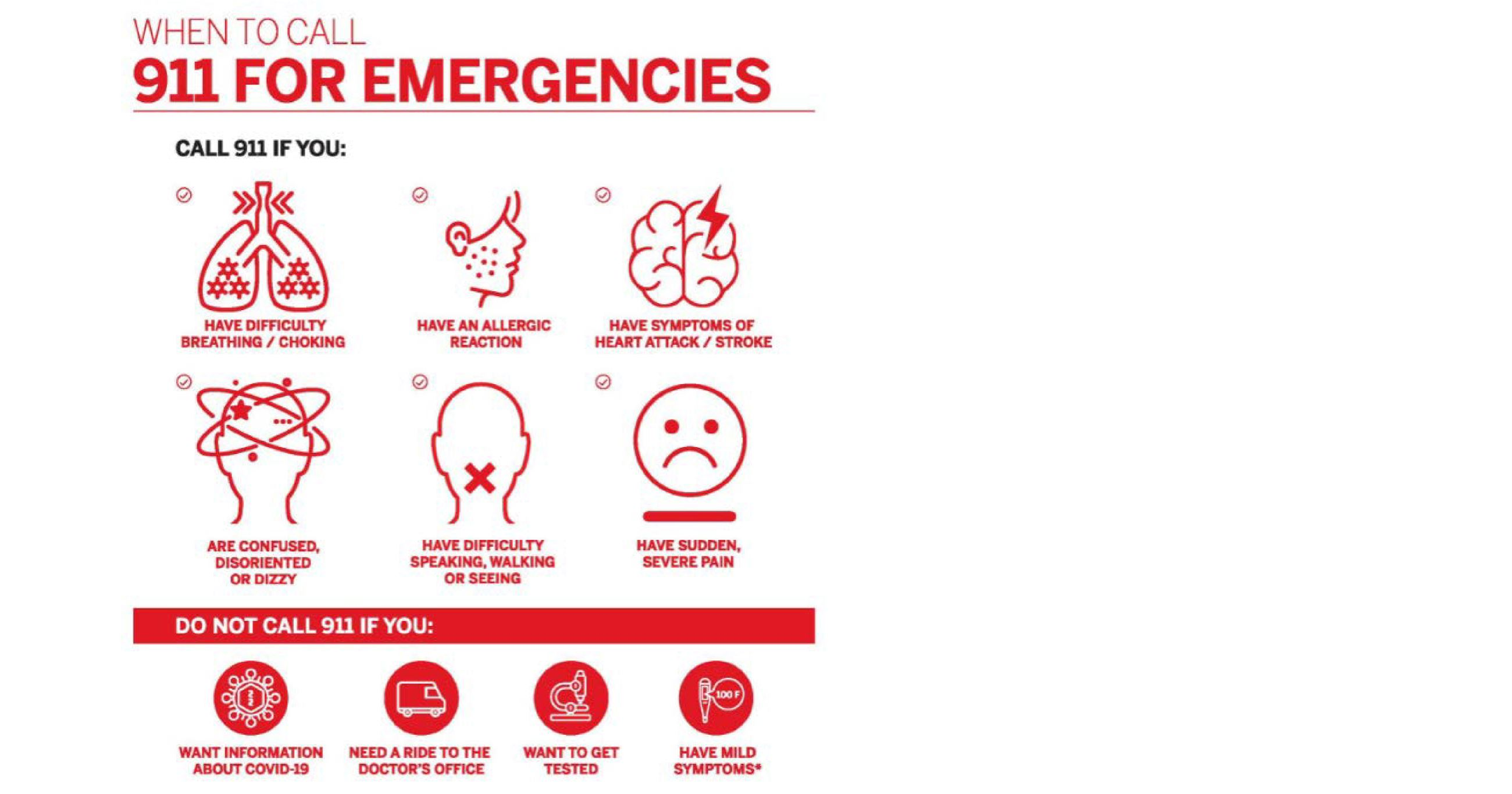 When to Call 9-1-1 for an Emergency Infographic